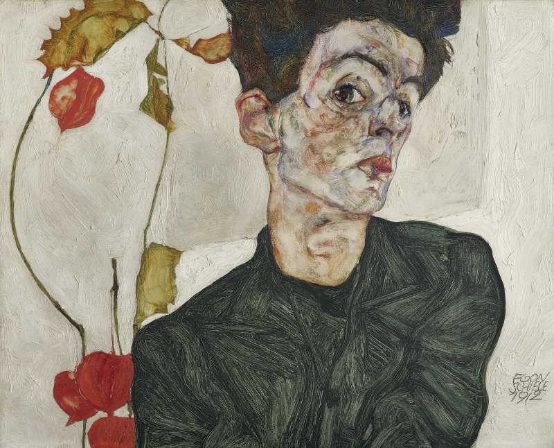 EGON SCHIELE, Self-Portrait with Chinese Lantern Plant, 1912<small>© Leopold Museum / EGON SCHIELE, Self-Portrait, 1912</small>