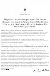 Van der Bellen: We need multilateral cooperation<small>© Österreichische Präsidentschaftskanzlei</small>