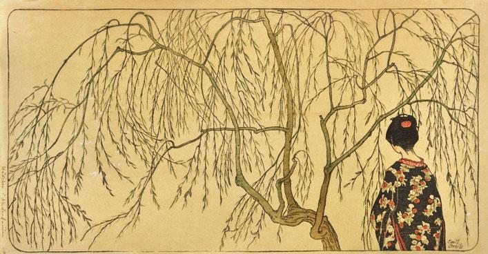 Emil Orlik - Japanisches Mädchen unterm Weidenbaum<small>© MAK / Sammlung Dr. Eugen Otto, Wien</small>