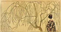Emil Orlik - Japanisches Mädchen unterm Weidenbaum<small>&copy MAK / Sammlung Dr. Eugen Otto, Wien</small>