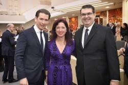Sebastian Kurz, Hannah Lessing and Oskar Deutsch<small>© Parlamentsdirektion / Johannes Zinner</small>