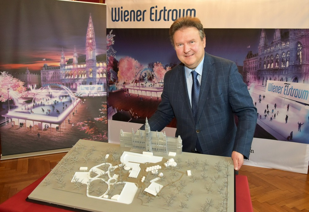 Ludwig presenting the Vienna Ice Dream with the new Sky Rink<small>© Magistrat der Stadt Wien / C.JObst / PID</small>