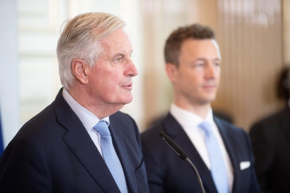 Michel Barnier and Gernot Blümel<small>© Bundeskanzleramt (BKA) / Arno Melicharek</small>