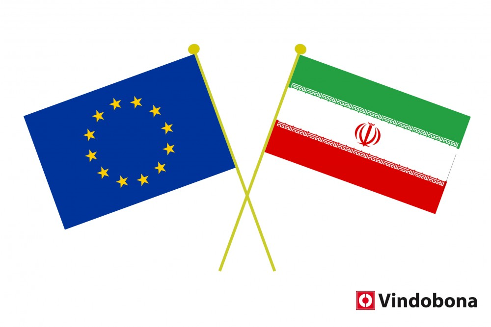 Iran-EU Crossed Flags<small>© Iranian and European Union crossed flags by Vindobona.org</small>