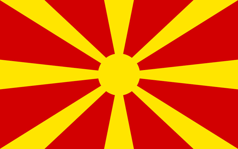 Flag of Republic of Macedonia<small>© Wikimedia Commons / By MacedonianBoy ([1]) [CC BY-SA 3.0]</small>