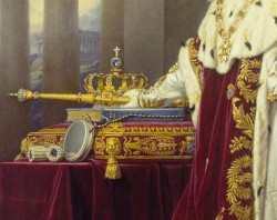 Crown of Bavaria - Wittelsbach Diamond just beneath the cross<small>© Wikipedia / Pinakothek / Unknown</small>