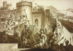 Drawing: The Romans build the fort Vindobona.<small>© Wikimedia Commons / Karl Ruß [Public Domain]</small>