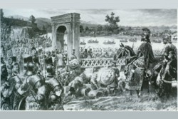 Marc Aurel crosses the Danube with his troops at Vindobona.<small>© Wikimedia Commons / Unbeannt [Public Domain]</small>