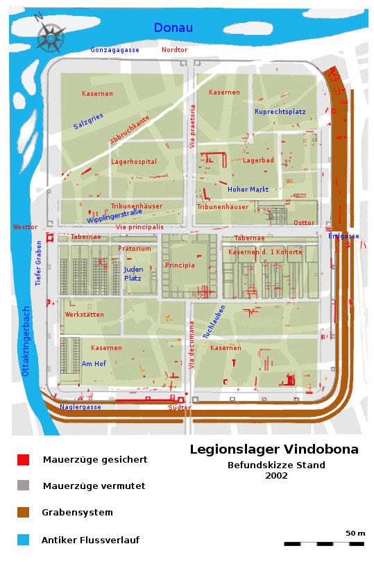 Sketch of the legionary camp Vindobona (Vienna) around 130 A.D.<small>© Wikimedia Commons / Veleius [CC0]</small>