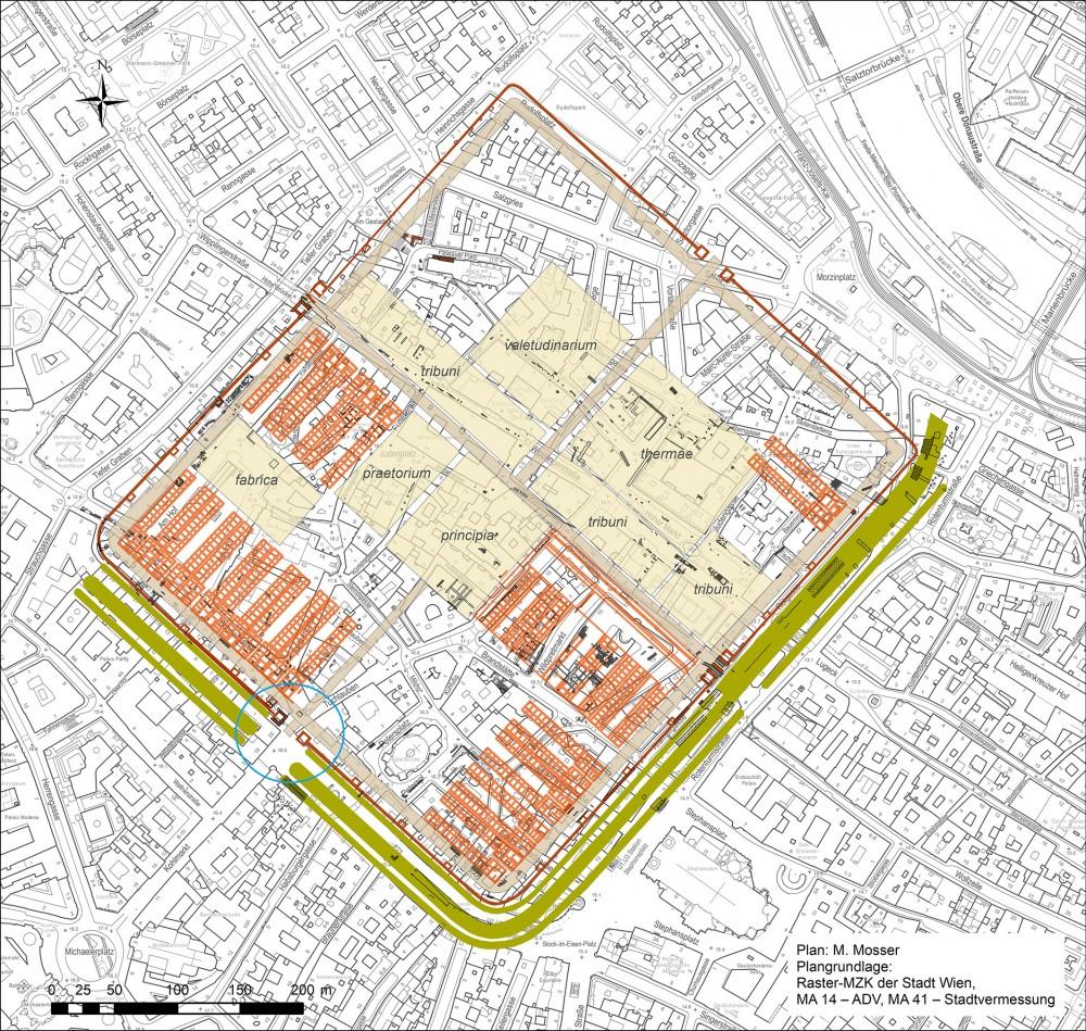 Floor plan legionary camp Vindobona.<small>© Stadtarchäologie Wien</small>