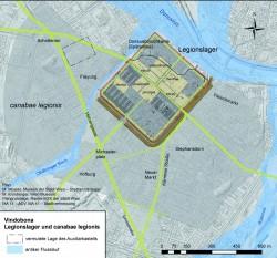 Vindobona. Legionslager und Lagervorstadt, ca. Ende  1.-5. Jhd.<small>&copy Stadtarchäologie Wien</small>