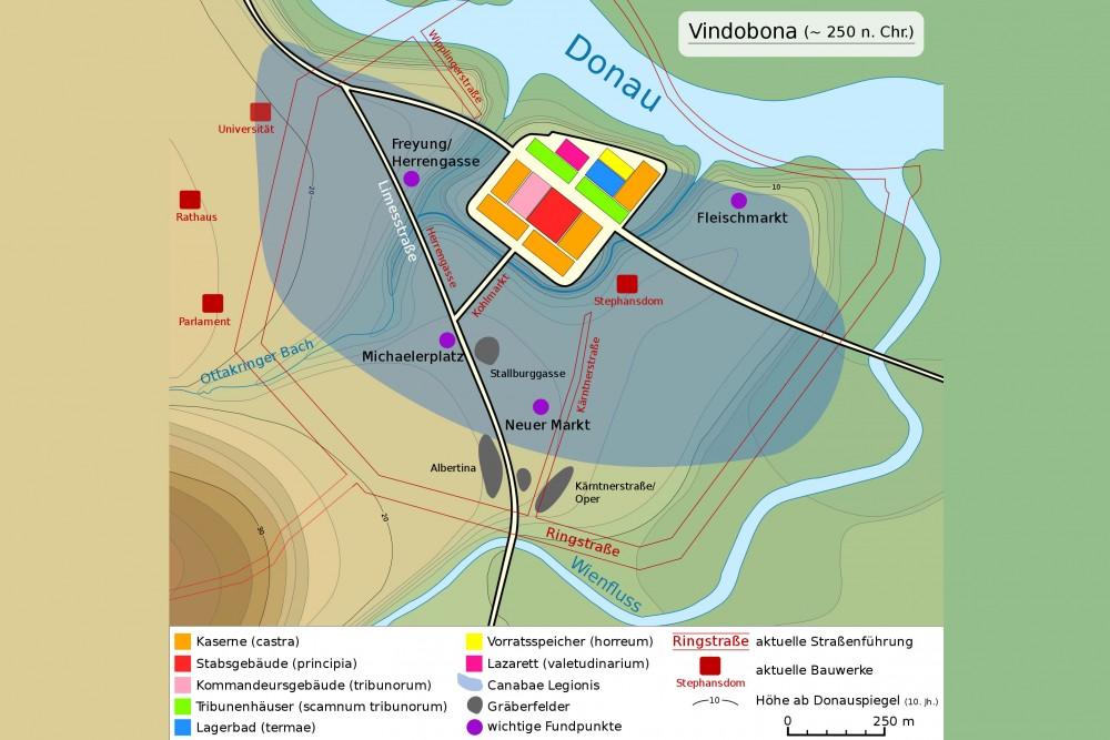Vindobona um 250 n. Chr<small>© Wikimedia Commons / eigene Arbeit [CC BY-SA 3.0]</small>