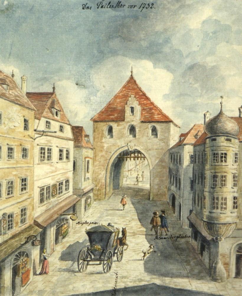 Das Peilertor in Wien vor 1732.<small>© Wikimedia Commons / Vienna Museum [Public Domain]</small>