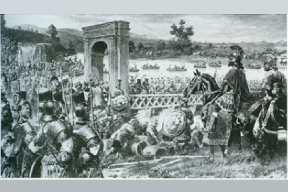 Marc Aurel überquert mit seinen Truppen bei Vindobona die Donau.<small>© Wikimedia Commons / Unbeannt [Public Domain]</small>