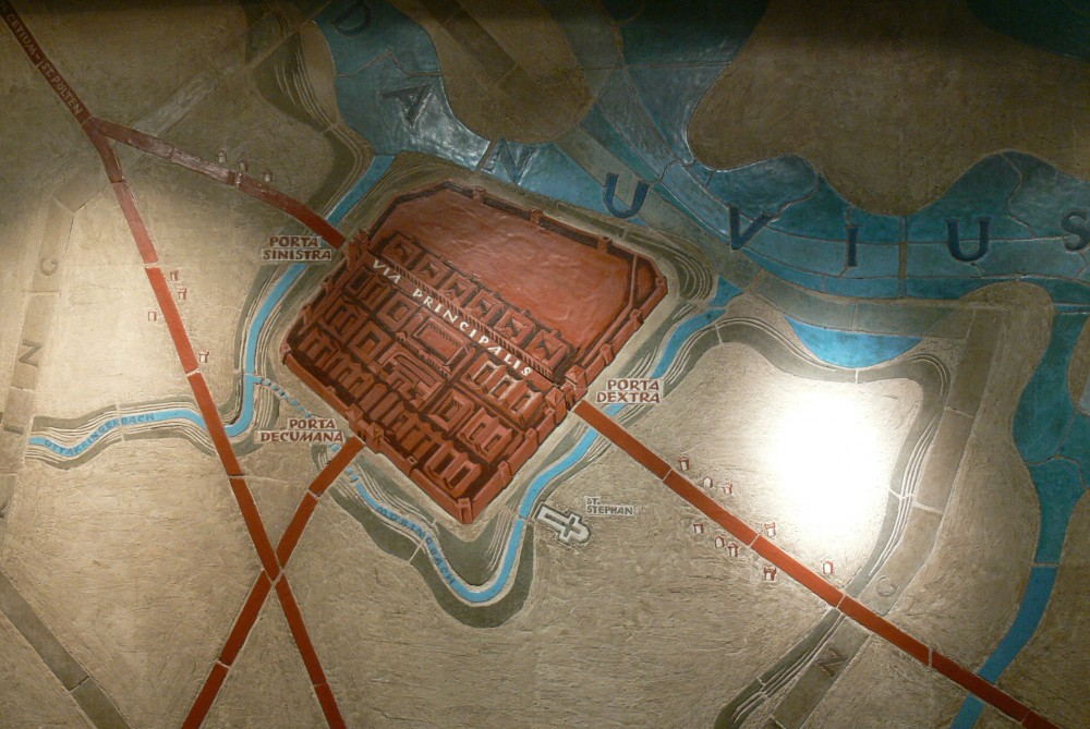 Römermuseum, Wien. Plan des römischen Vindobona.<small>© Wikimedia Commons / Wolfgang Sauber, 3. Juni 2011 [CC BY-SA 3.0]</small>