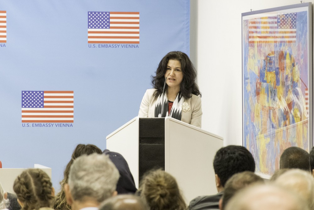 Rushan Abbas about human rights violations in Xinjiang/China<small>© U.S. Embassy Vienna / Flickr Attribution (CC BY-ND 2.0)</small>