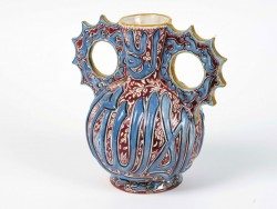 Moorish ceramic vase glazed with blue and brown decoration.<small>© Sheikh Faisal Bin Qassim Al Thani Museum</small>