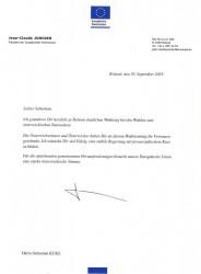 Letter from Juncker to Kurz<small>© Vertretung der Europäischen Kommission in Österreich</small>