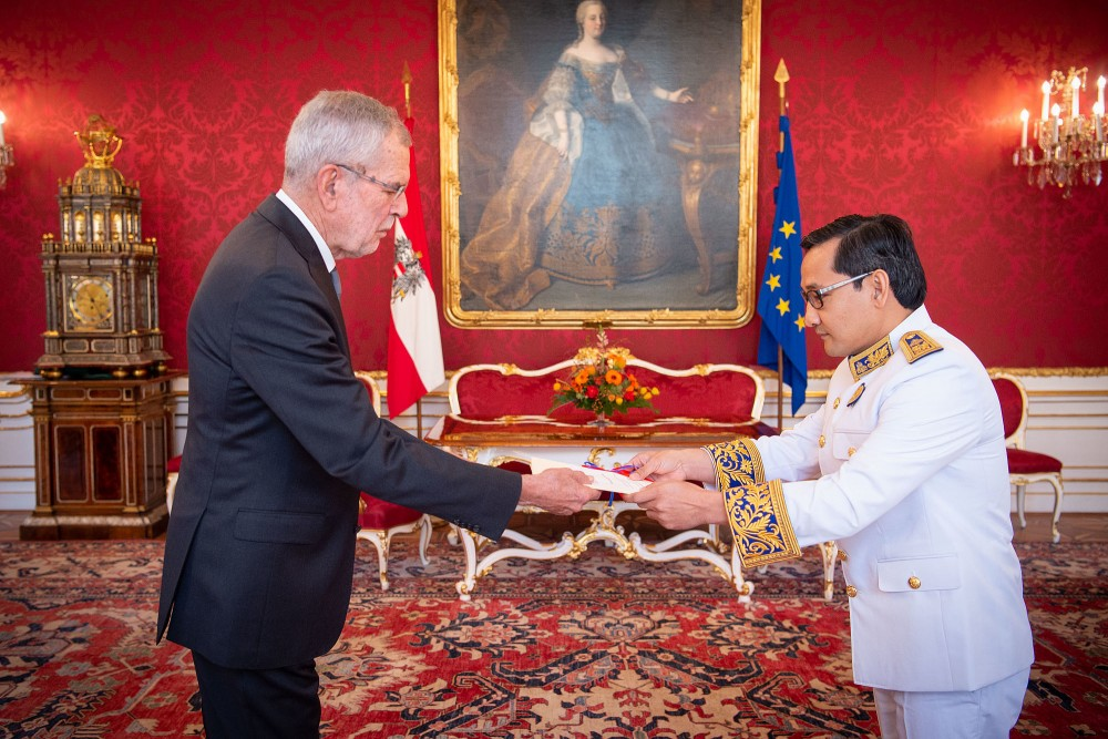 Ambassador of the Kingdom of Cambodia: H.E. Mr. Nom Piseth<small>© bundespraesident.at / Carina Karlovits and Peter Lechner / HBF</small>