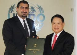 HRH Prince Abdullah bin Khalid bin Sultan Al Saud with Li Yong.<small>© UNIDO United Nations Industrial Development Organization</small>