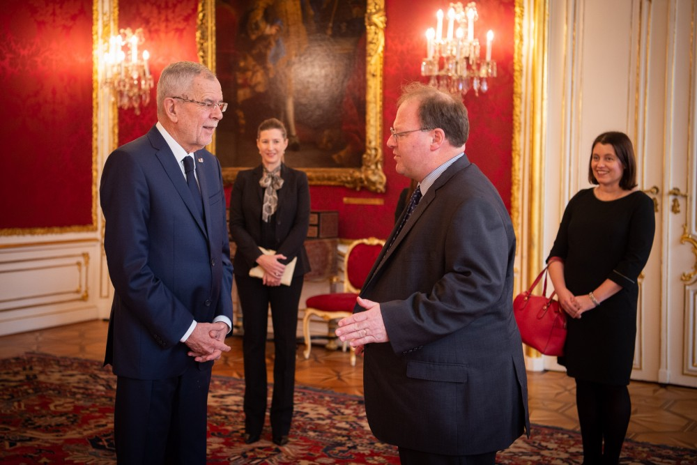 Ambassador of Israel, H.E. Mr. Mordechai Denis Paul Rodgold<small>© bundespraesident.at / Carina Karlovits & Clemens Schwarz / HBF</small>