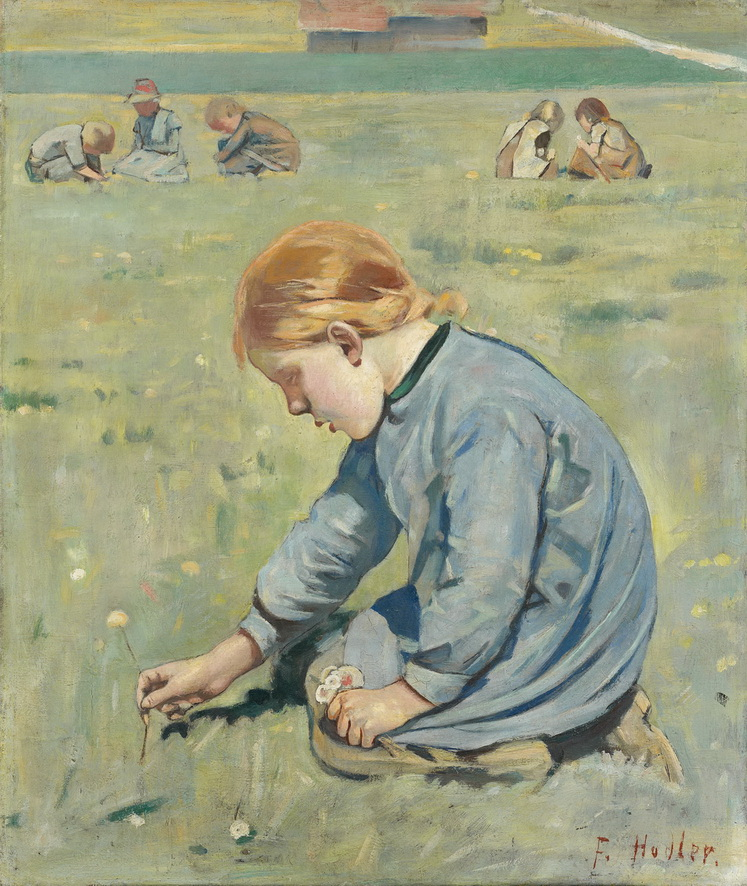 Ferdinand Hodler - Little Girl Picking Flowers, 1887<small>© Hahnloser/Jaeggli Foundation, Villa Flora, Winterthur</small>