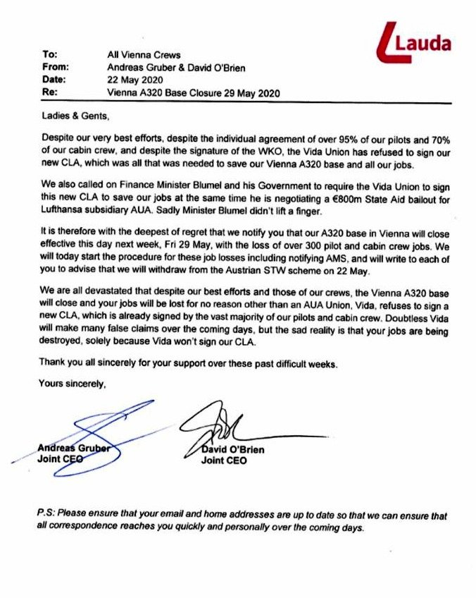 Letter signed by Join CEOs, Andreas Gruber and David O'Brien.<small>© Ryanair/Laudamotion</small>