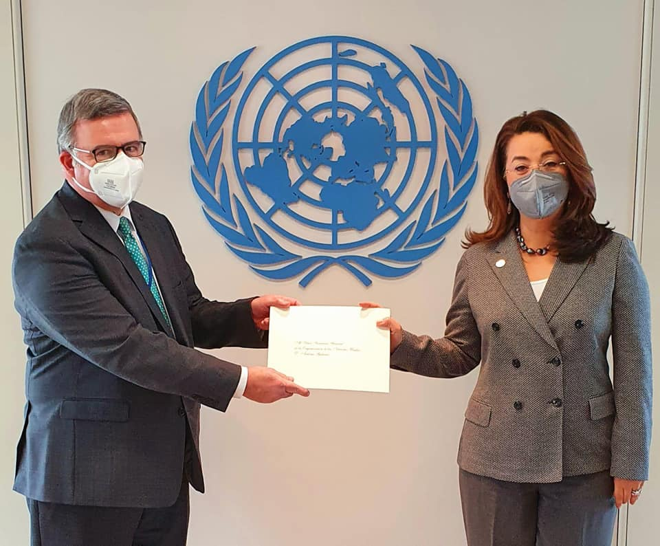 Gustavo Eduardo Ainchil (left) and Ghada Fathi Waly.<small>© UNOV United Nations Office at Vienna</small>