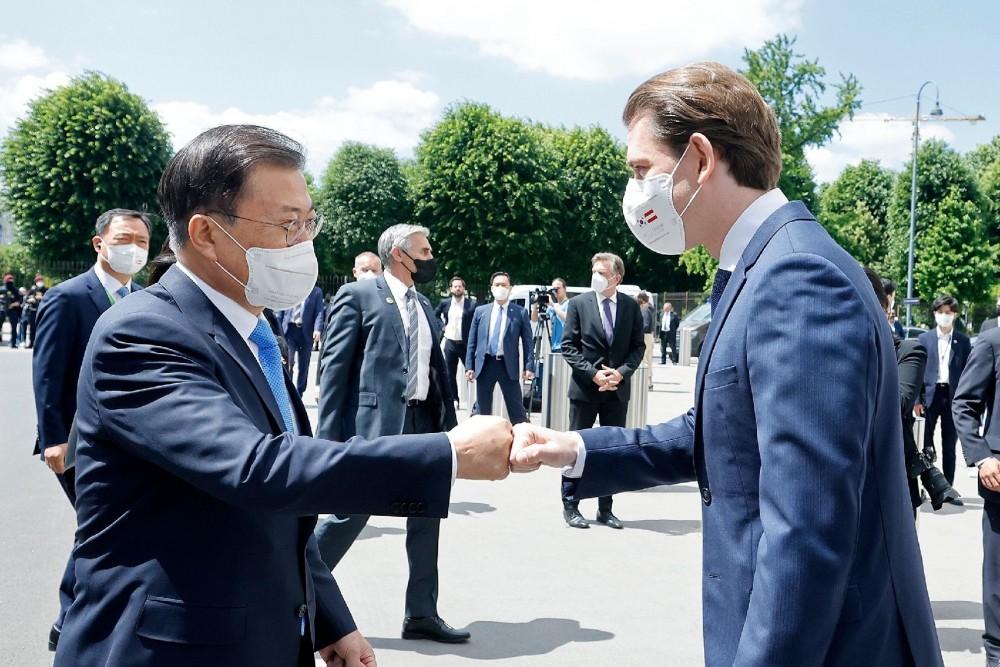Austrian Chancellor Kurz and South Korean President Moon<small>© Bundeskanzleramt (BKA) / Dragan Tatic</small>