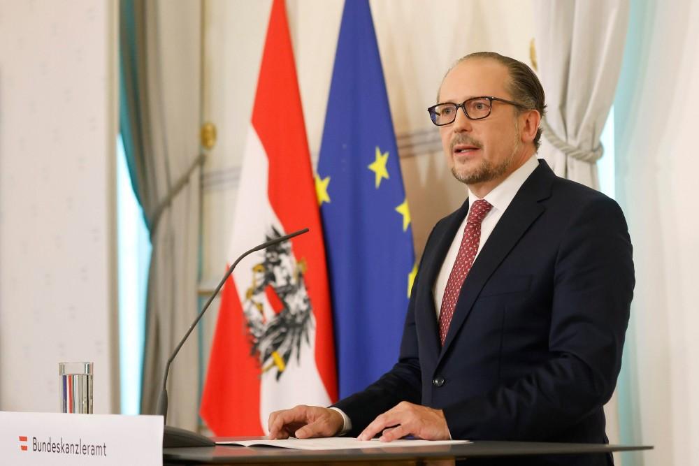 Alexander Schallenberg delivers first statement as chancellor.<small>© Bundeskanzleramt (BKA) / Dragan Tatic</small>