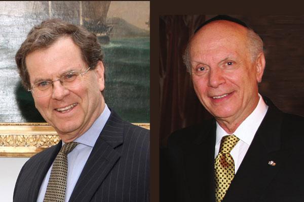 David Harris (left), Executive Director of the AJC American Jewish Committee, and Holocaust survivor Rabbi Arthur Schneier (right).<small>© Wikimedia Commons / Υπουργείο  Εξωτερικών [CC BY-SA 2.0 / appealofconscience.org [CC BY-SA 3.0]</small>