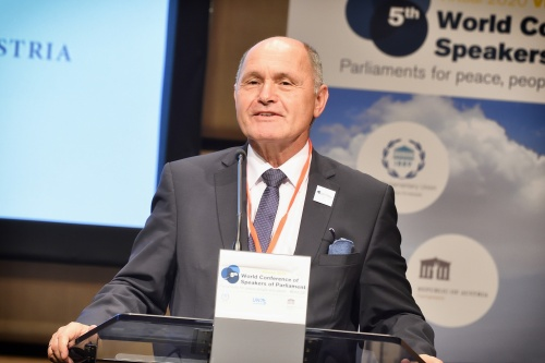 """President of Austrian National Council Wolfgang Sobotka: """"The international community is looking for international solutions when it has identified a global problem.""""<small>© Parlamentsdirektion / Johannes Zinner</small>"""