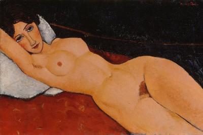 Amedeo Modigliani: Female Nude Reclining on a Pillow, ca. 1917<small>© bpk / Staatsgalerie Stuttgart</small>