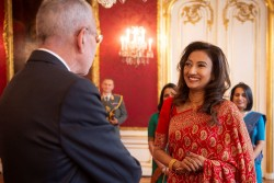 Saroja Sirisena is the Ambassador of Sri Lanka to Austria and the Permanent Representative of Sri Lanka to the United Nations Office in Vienna.<small>&copy www.bundespraesident.at / Lisa Kapici and Carina Karlovits / HBF</small>