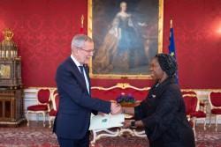Ambassador of the Republic of Liberia to Austria: H.E. Ms. Youngor Sevelee Telewoda<small>© www.bundespraesident.at / Carina Karlovits and Daniel Trippolt/HBF</small>