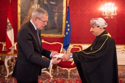 Ambassador of the Sultanate of Oman to Austria: H.E. Mr. Yousuf Ahmed Hamed Aljabri<small>&copy www.bundespraesident.at / Carina Karlovits and Daniel Trippolt/HBF</small>