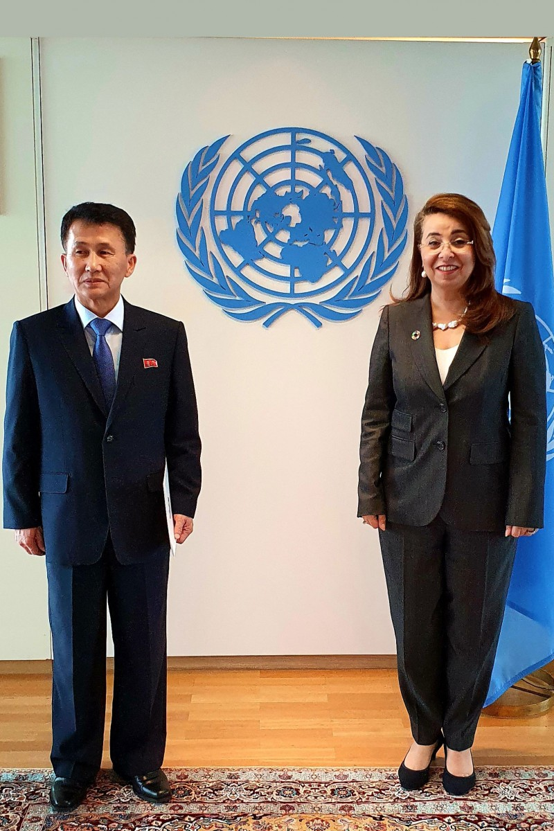 North Korean nuclear negotiator Mr. Choe appointed ambassador to Austria. (Picture: with Mrs. Waly.)<small>© UNOV United Nations Office at Vienna</small>