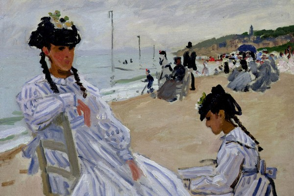 Claude Monet: Am Strand von Trouville 1870<small>© Albertina, Vienna / Musee Marmottan Monet; Paris / The Bridgeman Art Library</small>