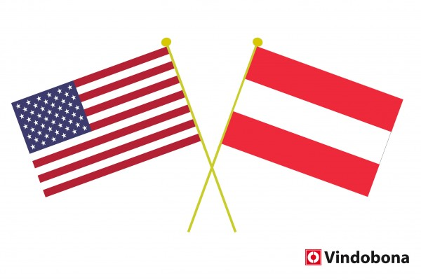 Since 2015, the United States has ranked second among Austria's export partners.<small>© American and Austrian crossed flags by Vindobona</small>