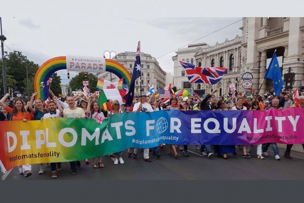 """Diplomats for Equality: """"Only through a unified global voive, we can tackle discrimination and promote human rights and fundamental freedoms.""""<small>© Diplomats for Equality</small>"""