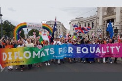 Diplomats for Equality: &quot;Only through a unified global voive, we can tackle discrimination and promote human rights and fundamental freedoms.&quot;<small>&copy Diplomats for Equality</small>
