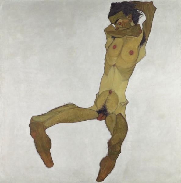 EGON SCHIELE, Seated Male Nude (Self-Portrait), 1910<small>© Leopold Museum / EGON SCHIELE, Seated Male Nude (Self-Portrait), 1910</small>