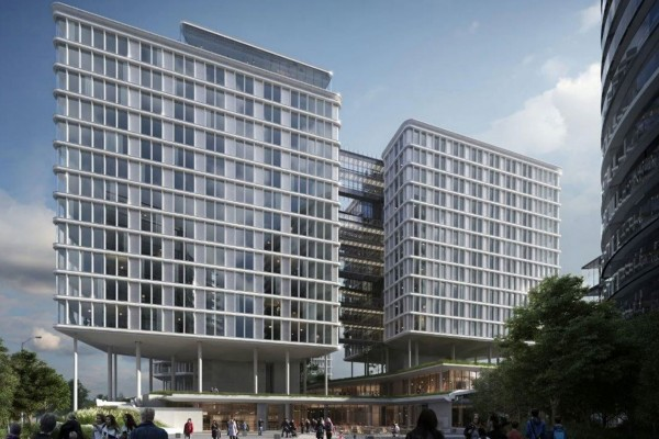 The &quot;Andaz Vienna Am Belvedere&quot; has 303 rooms, a 2,200 m² conference area, including a 700 m² ballroom, which is split into two structures that are interconnected with nested bridges, sharing a spacious lobby on the ground floor.<small>© Hyatt Corporation / Andaz Vienna Am Belvedere</small>
