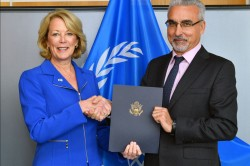 Ambassador Jackie Wolcott presented her credentials to Acting Director General of the IAEA - International Atomic Energy Juan Carlos Lentijo to also become U.S. Representative to the IAEA<small>&copy IAEA International Atomic Energy Agency / Dean Calma (CC BY 2.0)</small>