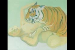 Maria Lassnig: Sleeping with a Tiger (Mit einem Tiger schlafen), 1975<small>© Albertina, Wien – Dauerleihgabe der Österreichischen Nationalbank © Maria Lassnig Privatstiftung</small>