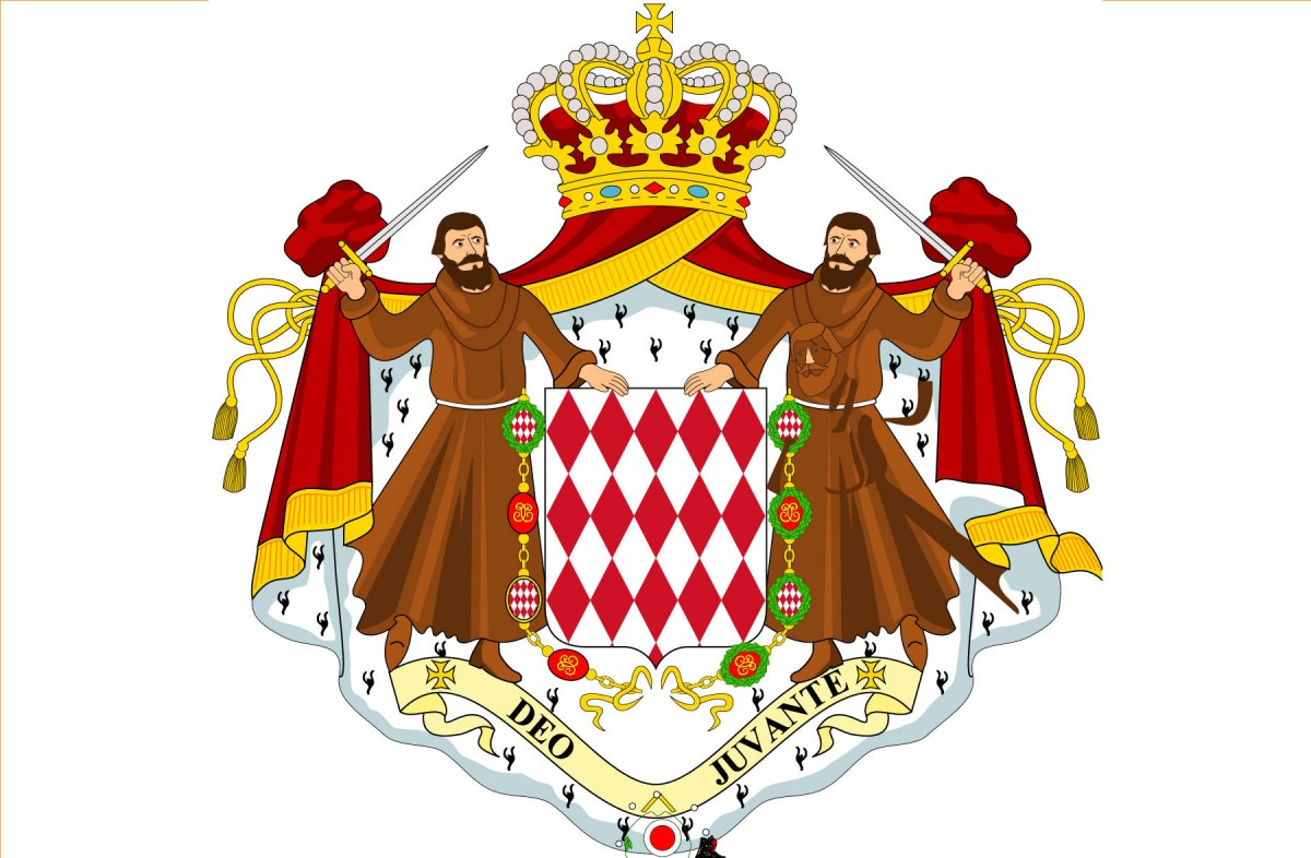 Coat of arms of the Principality of Monaco.<small>© Wikimedia Commons / Denelson83 / CC BY-SA (https://creativecommons.org/licenses/by-sa/3.0)</small>