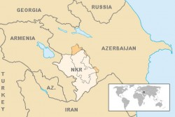 Map of Armenia, Azerbaijan and Nagorno Karabakh<small>© Wikimedia Commons / en:User:VartanM. World inset added by en:User:Kmusser. [Public Domain]</small>