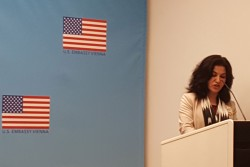 Rushan Abbas, Director of Campaign for Uyghurs, at the Amerika Haus, Friedrich Schmidt Platz 2, 1010 Vienna.<small>© Vindobona.org</small>