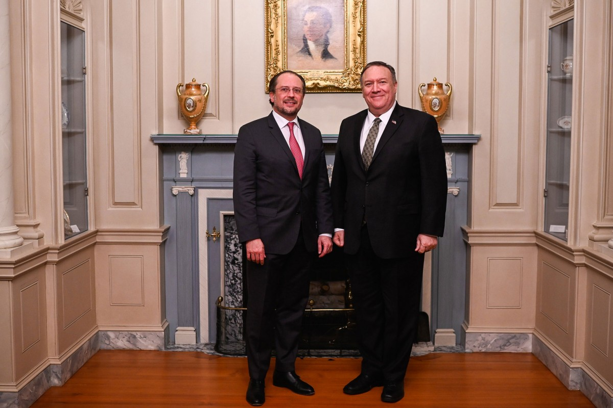 In Washington, D.C. US Secretary of State Mike Pompeo had a meeting with Alexander Schallenberg.<small>© BMEIA Bundesministerium für Europa, Integration und Äußeres / Gruber / Flickr Attribution 2.0 Generic (CC BY 2.0)</small>