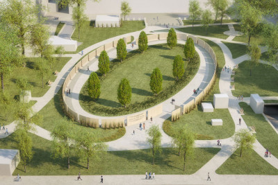 """Start of construction of the Shoah Names Walls Memorial in Vienna's Ostarrichi Park: """"Creating a society free of anti-Semitism and racism"""".<small>© Wehofer Architekten ZT GmbH</small>"""